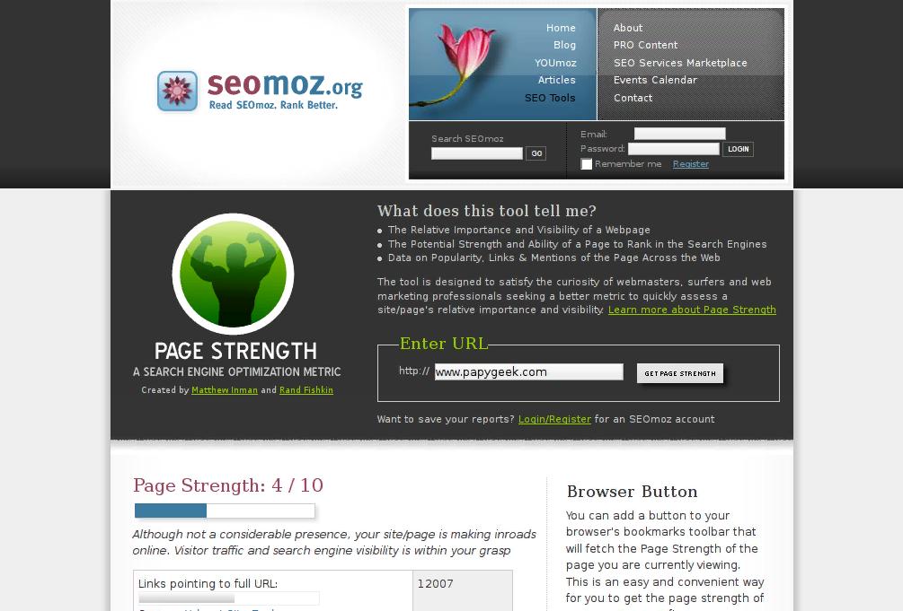 Phần mềm quản lý website SEOmoz's Page Strength Tool