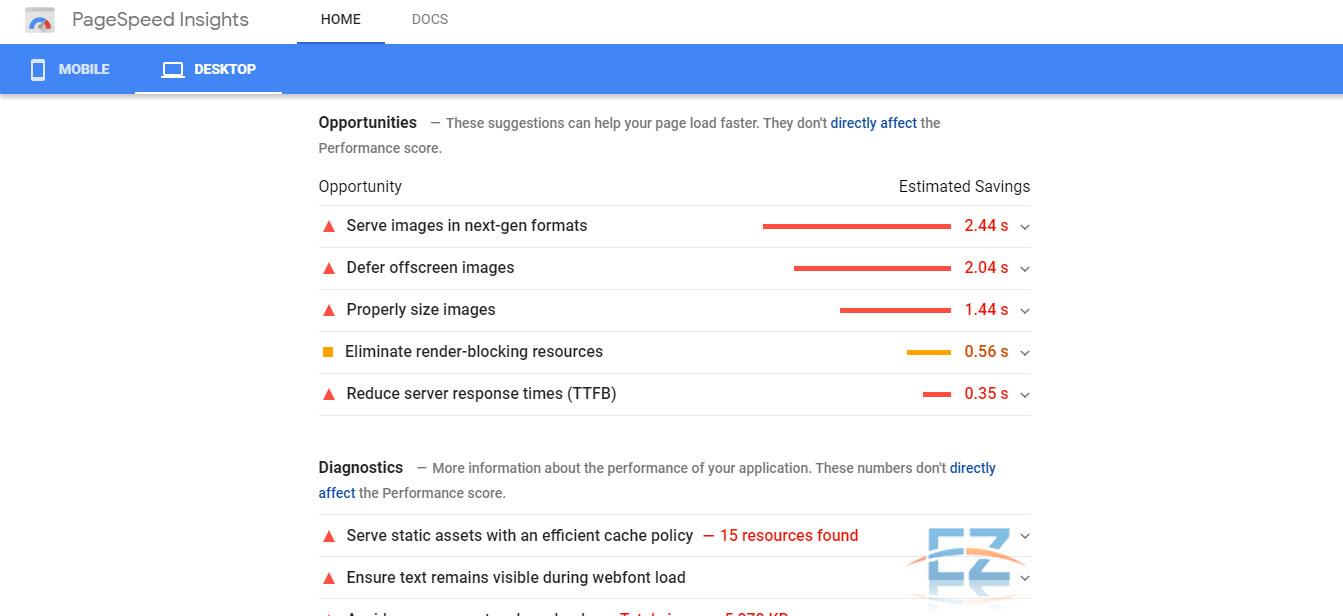 Các đề xuất cải thiện tốc độ website