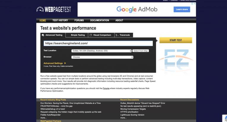 Công cụ Webpagetest