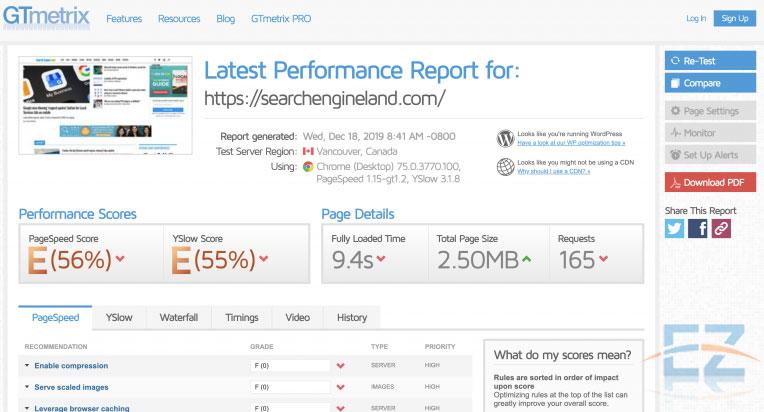 Mất vài giây để phân tích tốc độ website trên GTMetrix