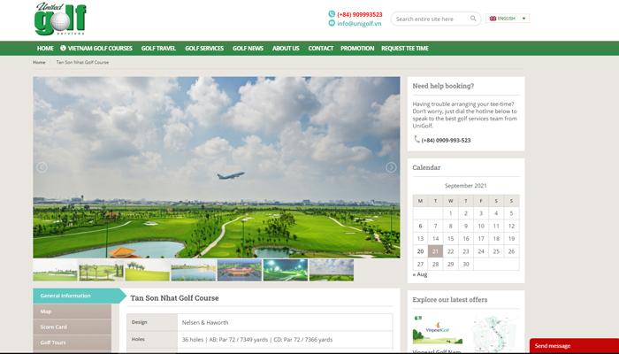 Trang web đặt lịch đánh golf - Unigolf.vn